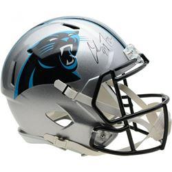 Christian McCaffrey Signed Panthers Full-Size Speed Helmet (Fanatics Hologram)