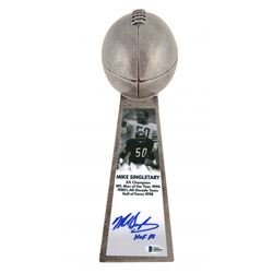 """Mike Singletary Signed Chicago Bears 15"""" Lombardi Football Championship Trophy Inscribed """"HOF 98"""""""