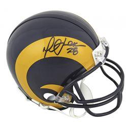 Marshall Faulk Signed Rams Throwback Mini Helmet (Beckett COA)