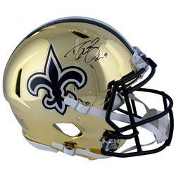 Drew Brees Signed Saints Full-Size Authentic On-Field Chrome Speed Helmet (Fanatics Hologram)