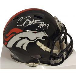 Courtland Sutton Signed Broncos Speed Mini Helmet (Beckett COA)