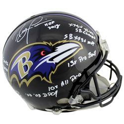 Ray Lewis Signed Baltimore Ravens Full-Size Authentic On-Field Helmet with Multiple Career Stat Insc