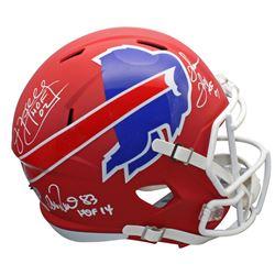 "Jim Kelly, Thurman Thomas,  Andre Reed Signed Bills Full-Size AMP Alternate Speed Helmet Inscribed """
