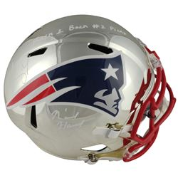 "Sony Michel  N'Keal Harry Signed Patriots Full-Size Chrome Speed Helmet Inscribed ""Back 2 Back #1 Pi"