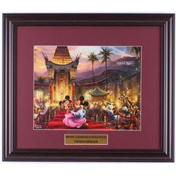"Thomas Kinkade Walt Disney's ""Mickey  Minnie Mouse in Hollywood"" 16x18.5 Custom Framed Print Display"
