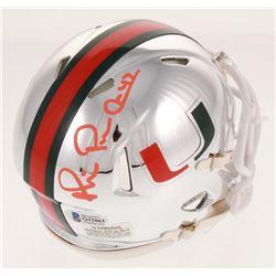 Michael Irvin Signed Miami Hurricanes Chrome Speed Mini Helmet (Beckett COA)