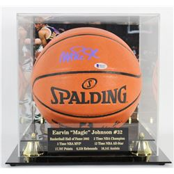 Magic Johnson Signed NBA Game Ball Series Basketball with High-Quality Display Case (Beckett COA)