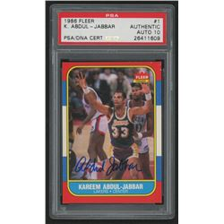Kareem Abdul-Jabbar Signed 1986-87 Fleer #1 (PSA Encapsulated - Autograph Graded 10)