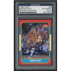 Byron Scott Signed 1986-87 Fleer #99 RC (PSA Encapsulated)