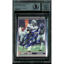 "Emmitt Smith Signed 1990 Score Supplemental #101T RC Inscribed ""HOF 2010"" (BGS Encapsulated)"