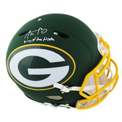 "Aaron Rodgers Signed Green Bay Packers AMP Full-Size Authentic On-Field Helmet Inscribed ""King of th"