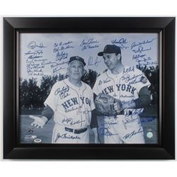 Mets Greats 19.5x23.5 Custom Framed Photo Signed by (41) with Nolan Ryan, Tom Seaver, Al Weis Inscri