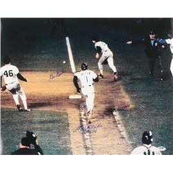 "Mookie Wilson  Bill Buckner Signed 1986 World Series 16x20 Photo Inscribed ""10/25/86"" (PSA COA)"