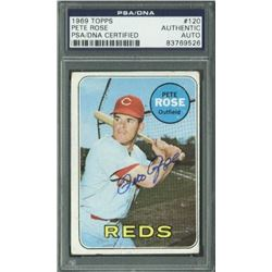 Pete Rose Signed 1969 Topps #120 (PSA Encapsulated)