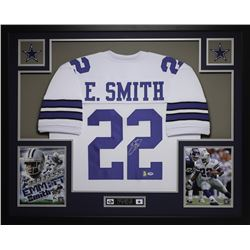 Emmitt Smith Signed 35x43 Custom Framed Jersey (PSA COA  Smith Hologram)