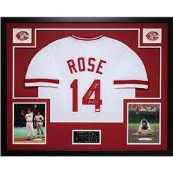 """Pete Rose Signed 35x43 Custom Framed Jersey Inscribed """"Hit King"""" (JSA COA)"""