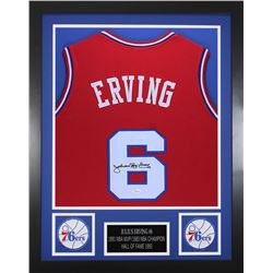 Julius Erving Signed 24x30 Custom Framed Jersey (JSA COA)