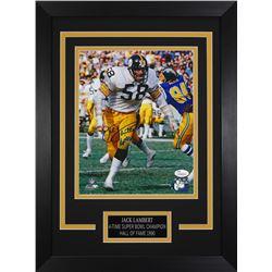 Jack Lambert Signed Pittsburgh Steelers 14x18.5 Custom Framed Photo (JSA COA)