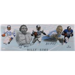 """Billy Sims Signed LE Lions 10x28 Photo Inscribed """"80-R.O.Y"""" (JSA COA)"""