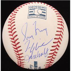 Greg Maddux, John Smoltz  Tom Glavine Signed Hall of Fame OML Baseball (PSA Hologram)