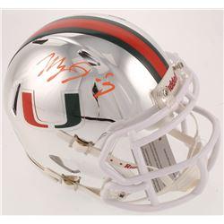 Manny Diaz Signed Miami Hurricanes Chrome Speed Mini Helmet (JSA COA)
