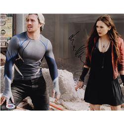 """Aaron Taylor-Johnson  Elizabeth Olsen Signed """"Avengers: Age of Ultron"""" 11x14 Photo (PSA Hologram)"""