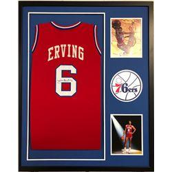 Julius Erving Signed 34x42 Custom Framed Jersey (JSA COA)