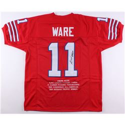 "Andre Ware Signed Career Highlight Stat Jersey Inscribed ""89 Heisman"" (JSA COA)"
