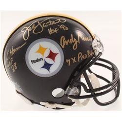 Jack Ham, Jack Lambert  Andy Russell Signed Steelers Mini-Helmet with (3) Inscriptions (JSA COA)