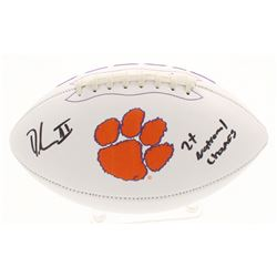 """Dexter Lawrence Signed Clemson Tigers Logo Football Inscribed """"2x National Champs"""" (Beckett COA)"""