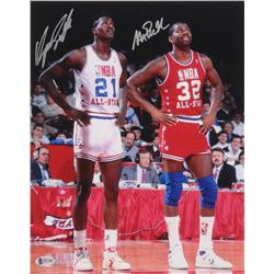 Magic Johnson  Dominique Wilkins Signed NBA All-Star 11x14 Photo (Beckett COA)