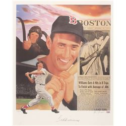 Ted Williams Signed Red Sox 23.5x29 Lithograph (PSA LOA)