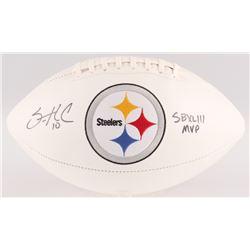 "Santonio Holmes Signed Steelers Logo Football Inscribed ""SB XLIII MVP"" (JSA COA)"
