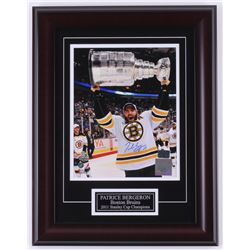 Patrice Bergeron Signed Bruins 13.75x18 Custom Framed Photo Display (Bergeron COA)