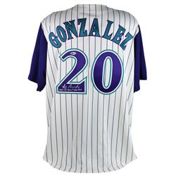 "Luis Gonzalez Signed Throwback Diamondbacks Majestic Jersey Inscribed ""2001 WS Game 7 GW Hit"" (Becke"