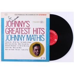 "Johnny Mathis Signed ""Johnny's Greatest Hits"" Vinyl Record Album Inscribed ""Love"" (PSA COA)"