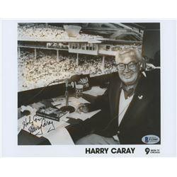 """Harry Caray Signed 8x10 Photo Inscribed """"Holy Cow!!"""" (Beckett COA)"""