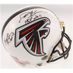 """Deion Sanders  Claude Humphrey Signed Falcons Full-Size Authentic On-Field Helmet Inscribed """"HOF 201"""