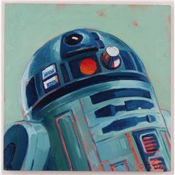 "Brianna Voron Signed ""R2-D2"" 12x12 Original Oil Panting on Panel (PA LOA)"