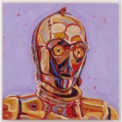 "Brianna Voron Signed ""C-3PO"" 12x12 Original Oil Panting on Wood Panel (PA LOA)"