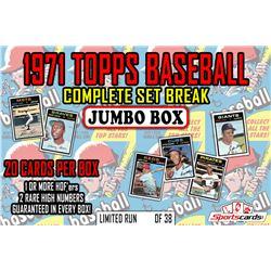 1971 Topps Baseball Complete Set Break JUMBO Mystery BOX – 20 Cards Per Box!