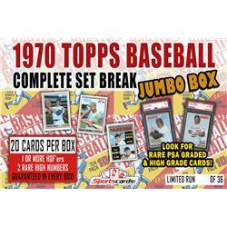 1970 Topps Baseball Complete Set Break JUMBO Mystery BOX – 20 Cards Per Box!