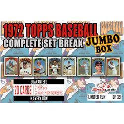 1972 Topps Baseball Complete Set Break JUMBO Mystery BOX – 20 Cards Per Box!