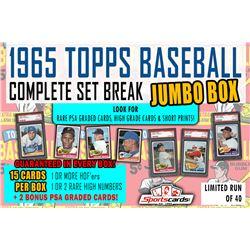 1965 Topps Baseball Complete Set Break JUMBO Mystery BOX – 15 Cards Per Box!