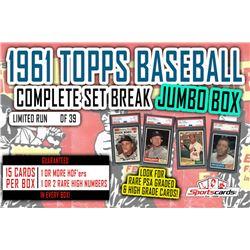 1961 Topps Baseball Complete Set Break JUMBO Mystery BOX –15 Cards Per Box!