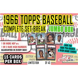 1966 Topps Baseball Complete Set Break JUMBO Mystery BOX – 15 Cards Per Box!