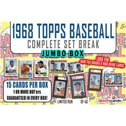 1968 Topps Baseball Complete Set Break JUMBO Mystery BOX – 15 Cards Per Box!