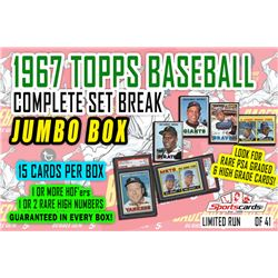 1967 Topps Baseball Complete Set Break JUMBO Mystery BOX – 15 Cards Per Box!