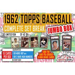 1962 Topps Baseball Complete Set Break JUMBO Mystery BOX – 15 Cards Per Box!