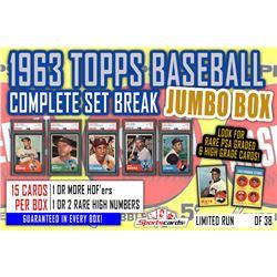 1963 Topps Baseball Complete Set Break JUMBO Mystery BOX – 15 Cards Per Box!
